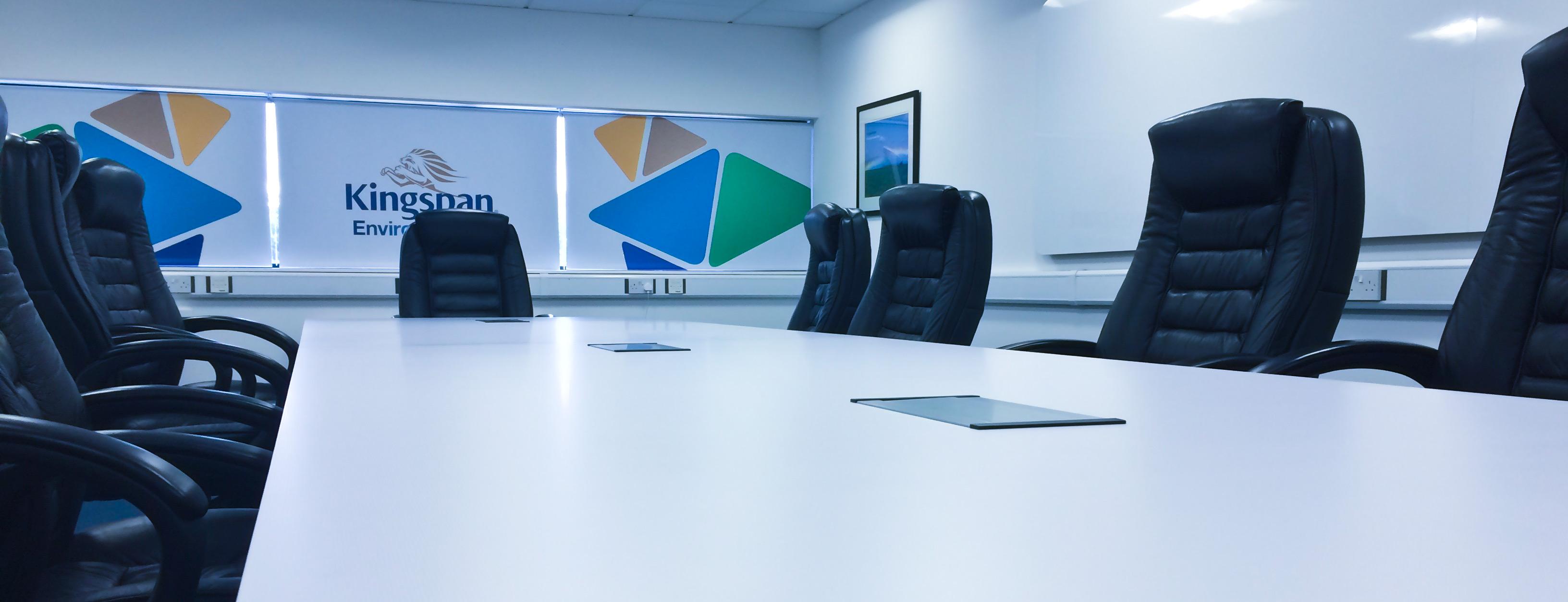 printed blinds bespoke board room table